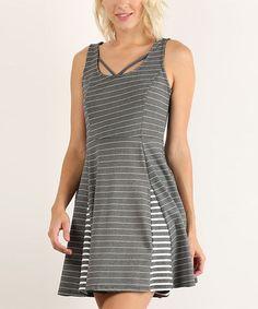 Gray & White Stripe Fit & Flare Dress