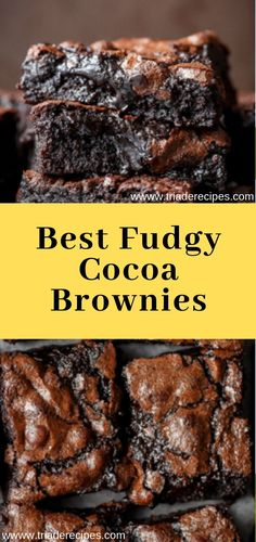 Best Fudgy Cocoa Brownies, Click web site other content Chocolate Desserts, Fun Desserts, Delicious Desserts, Dessert Recipes, Yummy Food, Tasty, Japanese Sweets, Eat Dessert First, Dessert Bars