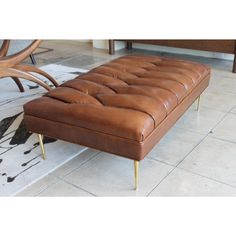 Large Leather Ottoman, Leather Ottoman Coffee Table, Brown Ottoman, Upholstered Ottoman, Extra Seating, Living Room Modern, Family Room, Brown Leather, Future