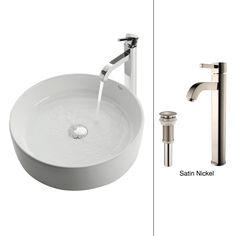$239 Kraus C-KCV-140-1007CH White Round Ceramic Sink and Ramus Faucet Chrome - Vessel Sinks - Amazon.com
