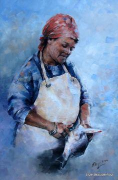 Visskoonmaker by Kalkbaai Elize Bezuidenhout Oil on canvas 420 x 594 mm