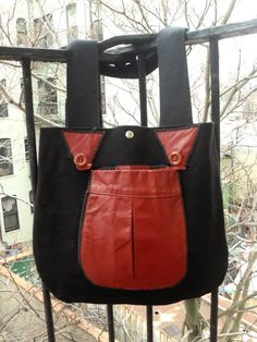 canvas leather bag by Liquidshiva on Etsy, $48.00