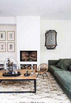 low green sofa and modern furnishings via milk magazine. / sfgirlbybay