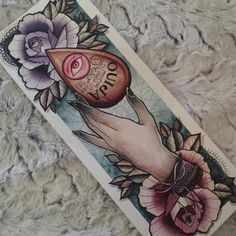 planchette with hand and flowers; I love the softer colors and think it would look beautiful as a thigh or leg tattoo.Ouija planchette with hand and flowers; I love the softer colors and think it would look beautiful as a thigh or leg tattoo. Leg Tattoos, Body Art Tattoos, Cool Tattoos, Piercings, Piercing Tattoo, Tatoo Art, I Tattoo, Tattoo Sketches, Tattoo Drawings