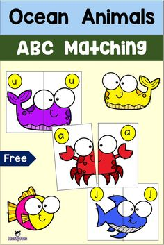 Ocean Games, Ocean Activities, Animal Activities, Language Activities, Alphabet Activities, Matching Games For Toddlers, Animal Matching Game, Letter Matching, Ocean Lesson Plans