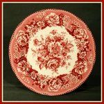 red & white floral country toile plate