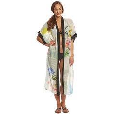 Rappi Silhouette Tropical Kimono ($115) ❤ liked on Polyvore featuring swimwear, cover-ups, silhouette tropical, sheer kimono, kimono cover up, swim cover up, floral chiffon kimono and beach cover up kimono