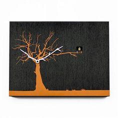 Progetti CukuRuku Cuckoo Clock, Black/Orange Tree