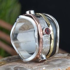 925 SOLID STERLING SILVER GARNET CUT SPINNER RING 7.09g DJR11375 SZ-5.5 #Handmade #Ring
