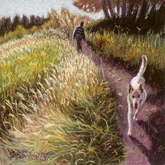 Dog-Walking Jobs   White Dog Walking Pastel - White Dog Walking Fine Art Print
