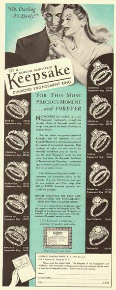 Keepsake Diamond Engagement Rings advertisement  1942