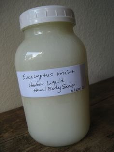 Homemade liquid herbal hand soap and body wash...eucalyptus and mint...invigorating!