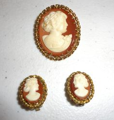 Vintage Marked West Germany Cameo Brooch and Clip On Earrings