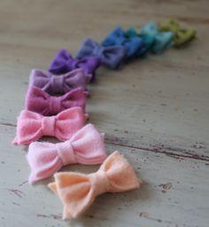 $6 Tiny Felt Bows - Pick 3 Colors - Newborn Wool Felt Bows - stick on bows