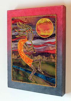 Kokopelli Native American Southwest art Art quilt by JPGstudio2536, $120.00