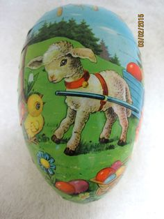 Vintage Paper Mache Easter Egg Germany Candy Container Box Lamb Chicks CLASSIC
