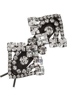 Jennifer Behr Gunmetal Swarovski crystal hairclip | NET-A-PORTER $165