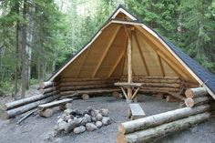 This is called a laavu (Laavu, a traditional Finnish shelter any passerby may use)  It is a wonderful shelter idea (that can surely be modified) for camping under the stars.....even if it's in your own backyard!