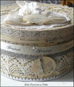 Shabby Lace Covered Boxes