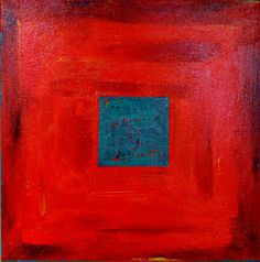 "Square in Red  and Turquoise 2 by Joy Pesaturo | $100 | 18""w x 18""h 