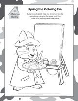 Max Ruby Springtime Coloring Page Kids Draw Their Favorite Scene On The Easel Then Color In Rest Of Picture