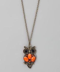 Take a look at this Orange Owl Necklace by Rated G on #zulily today!