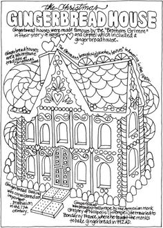 gingerbread house home holiday christmas coloring page free to print from dover publications