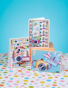 Look at all the snappy camera cards which you can make with our free digital papers!