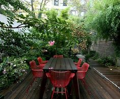 outdoor red chairs