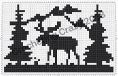 Moose Scene Hat Pattern | Crocheting Crazy Graph Crochet, Afghan Crochet Patterns, Crochet Hats, Filet Crochet, Crochet Edgings, C2c Crochet, Knitting Patterns, Cross Stitch Designs, Cross Stitch Patterns