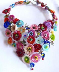 Penelope Barnhill: Necklace - Lovers' garden. Glass flowers, copper, silver, 2012