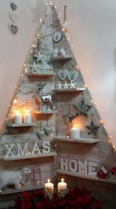 Best of inexpensive christmas decorations rustic from pallet christmas trees 45 – fugar Pallet Christmas Tree, Real Christmas Tree, Rustic Christmas, Christmas Projects, Christmas Crafts, Christmas Lights, Christmas 2019, Wooden Xmas Trees, Half Christmas