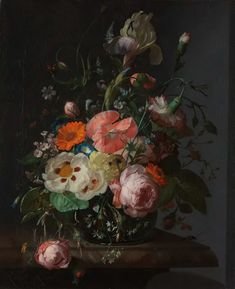 KEK Amsterdam This beautiful painting is from Rachel Ruysch from And the next best thing: a mural. Perfect for people who like wallpaper, but prefer not to hang their whole wall. Easy to do it yourself within just 30 minutes. Famous Flower Paintings, Most Famous Paintings, Original Paintings, Floral Paintings, Pierre Auguste Renoir, Manet, Andy Warhol Obra, Claude Monet, Canvas Wall Art