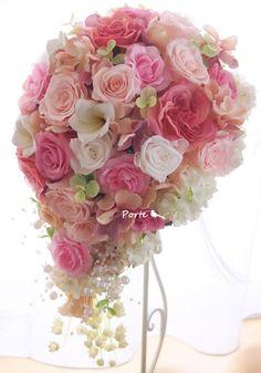やさしいピンクがいっぱいのティアドロップブーケ |Wedding Flower・ぽると のブログ|Ameba (アメーバ)