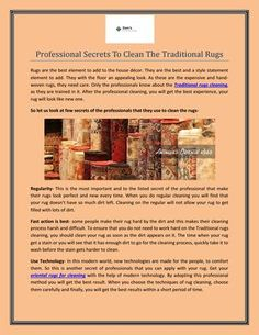 Professional Secrets To Clean The #Traditional_Rugs