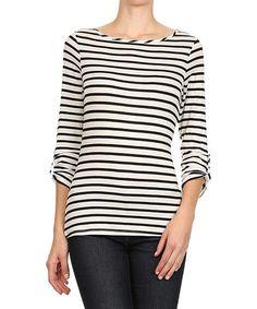 Look at this #zulilyfind! White & Black Stripe Top #zulilyfinds