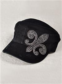 Rhinestone Fluer de Lis Cap - Black  $24.99