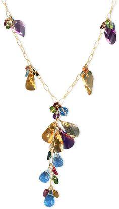 Gemma by EFFY Multistone Briolette Y Cluster Necklace in 14k Gold