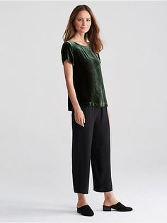 VELVET BOX_TOP in DEEP HEMLOCK  shirt from Eileen Fisher, $228