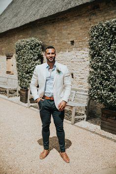 Groom in Cream Wedding Jacket | By Natalie J Weddings | Summer Wedding | Outdoor Wedding | Barn Wedding | Rustic Wedding | Groom Outfit | Groom Wedding Suit | Cream Jacket for Wedding | Linen Wedding Suit |