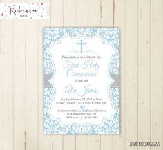 boy communion invitation first communion by RebeccaDesigns22
