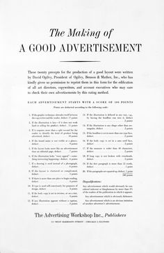 the making of good advertisement by David Ogilvy Good Advertisements, Clever Advertising, Advertising Quotes, Marketing Quotes, Print Advertising, Advertising Agency, Print Ads, Advertising Photography, Photography Business