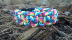 Rainbow Camoflauge Paracord Bracelet (custom size) of string Cobra Weave, Thing 1, 550 Paracord, Paracord Bracelets, Weaving, Buy And Sell, Rainbow, Diy Crafts, How To Make