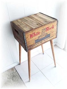 Shipping Crate Table WHITE ROCK Sparkling Beverages Box A repurposed distressed box upcycled renewed Repurposed Furniture, Painted Furniture, Diy Furniture, Crate Side Table, Shipping Crates, Wooden Crates, Wine Crates, Wood Projects, Sweet Home