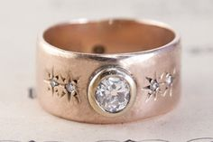 Erica Weiner Antique Late Victorian Rose Gold Band with .33ct Diamond, $1,900,