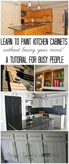 MUST PIN!  Learn how to paint your kitchen cabinets without losing your mind!  Finally, a tutorial for busy people! #paintedcabinets http://designertrapped.com/2014/06/paint-your-kitchen-cabinets.html