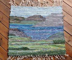 RARE UNIQUE one-of-a-kind larger art work rustic vintage 1960s HANDWOVEN cotton ragrug wallhanging with fringe and nature motive by NORDICARTCURIOSITY on Etsy