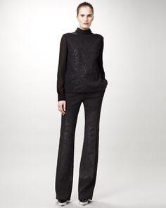 8df207b580 Chiffon-Sleeve Damask Top  amp  Straight-Leg Pants - Neiman Marcus. By