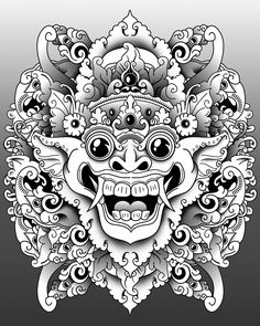 Barong Bali, Balinese Tattoo, God Tattoos, Mask Drawing, Indonesian Art, Mask Tattoo, Oriental Tattoo, Thai Art, Asian Art