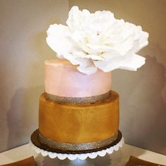 Blush and Gold Two Tier Cake with Oversized Flower Decor